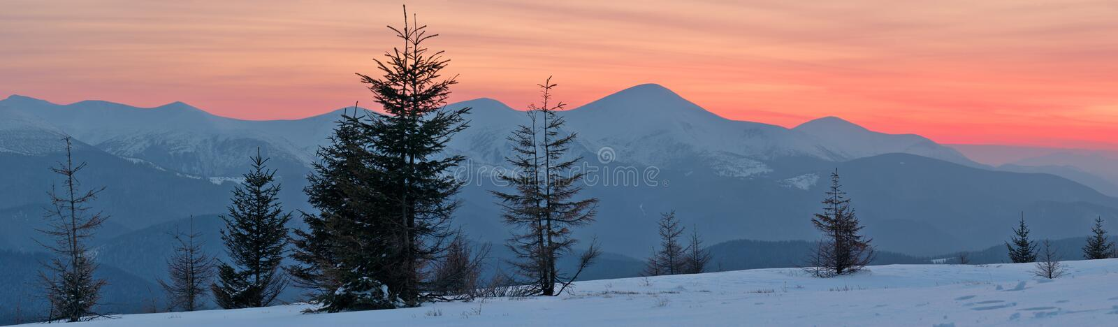 Winter Landscape at Sunset stock photo