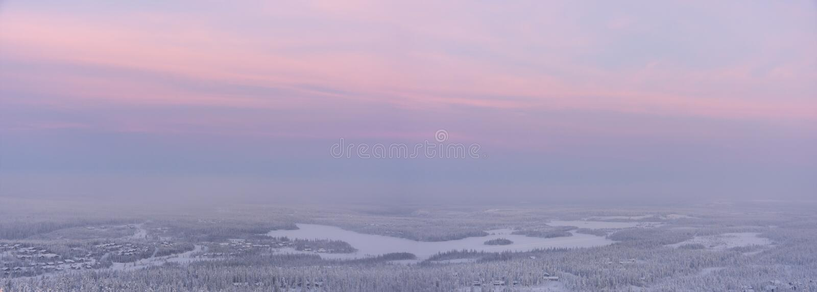 Winter Landscape At Sunset Stock Images