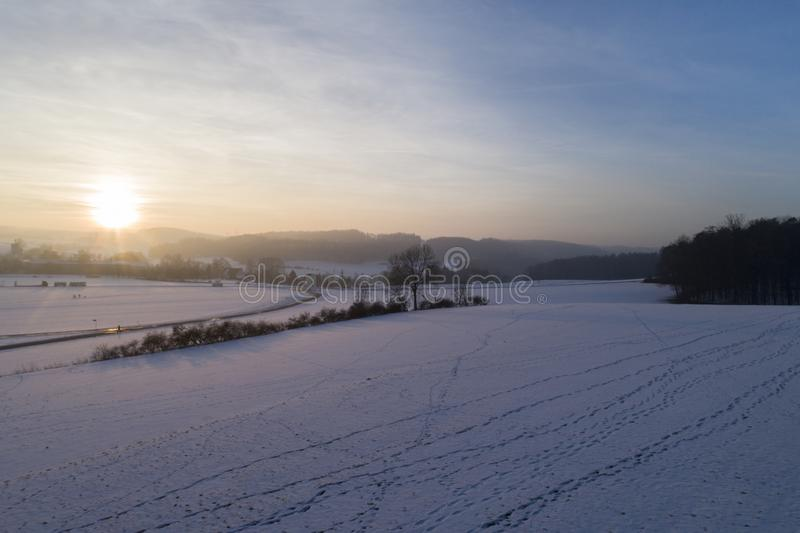 Winter landscape in the Swabian Alb in the evening, Amstetten, Germany. Landscape with sunset royalty free stock photos