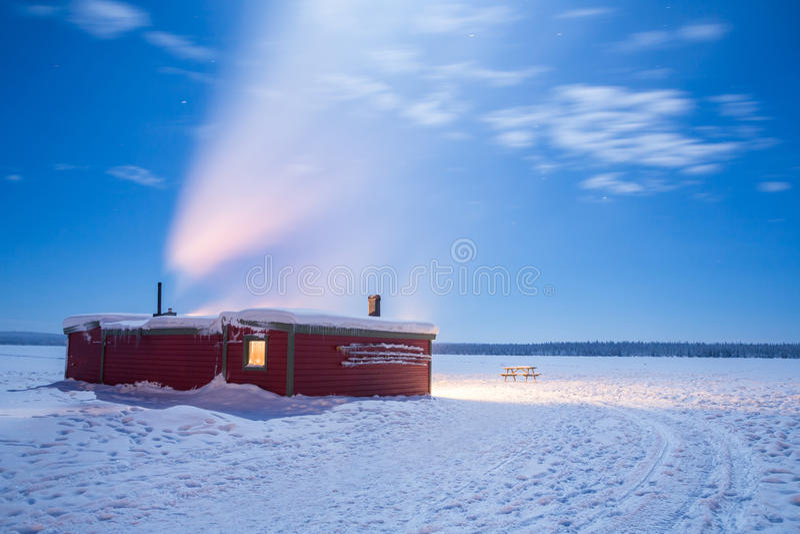 Winter landscape Sweden lapland Night royalty free stock photos