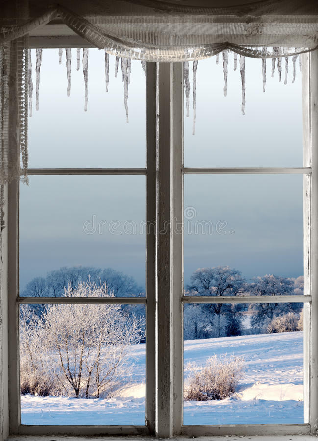 Free Winter Landscape Through Window Royalty Free Stock Photos - 34305068