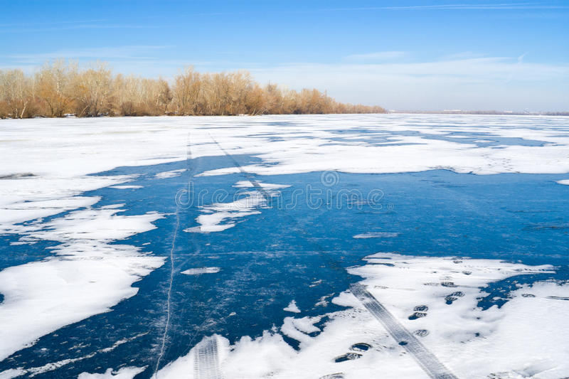 Winter Landscape - Track On A Frozen River Royalty Free Stock Images