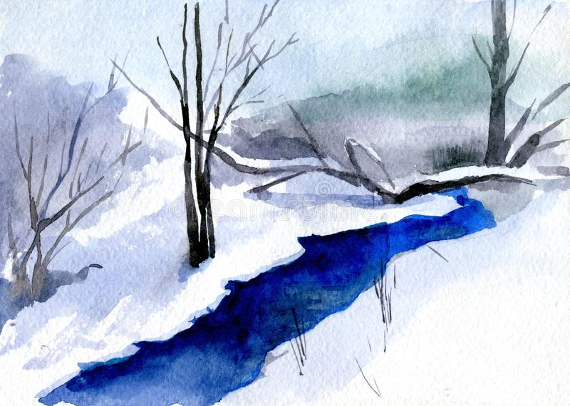 Winter landscape with tree and river. Watercolor illustration vector illustration