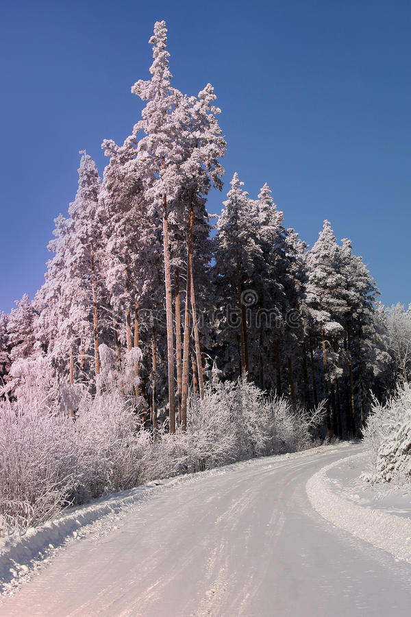 Winter landscape in the Ural mountains royalty free stock photography