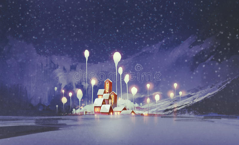Winter landscape with village and fantasy trees at night. Illustration painting royalty free illustration