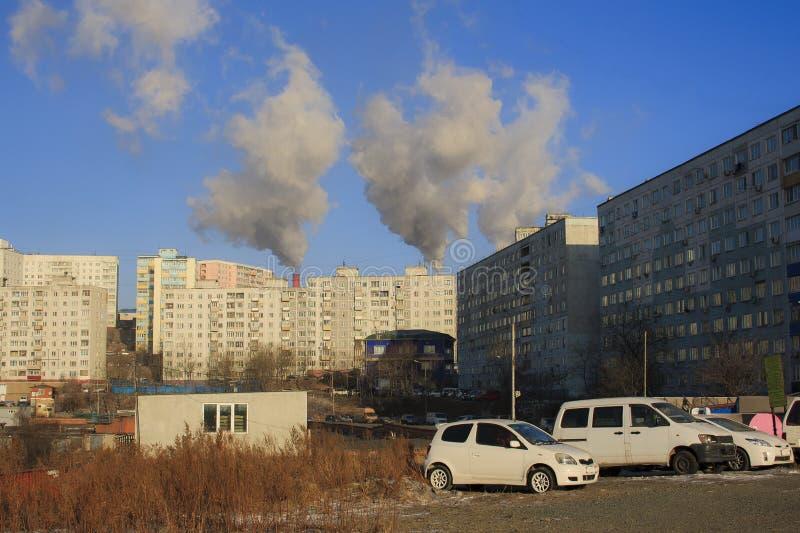 Winter Landscape of Vladivostok. Russia. royalty free stock image
