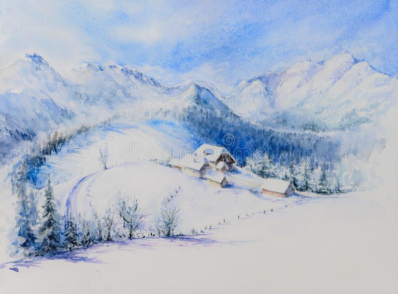 Winter landscape watercolor painted stock images