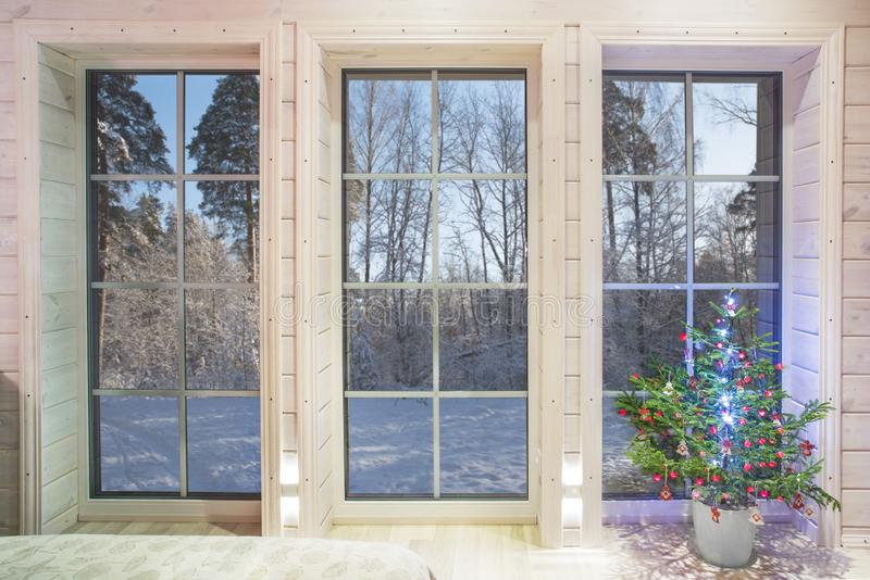 Winter landscape in white window. Home and garden New Year concept. royalty free stock photos