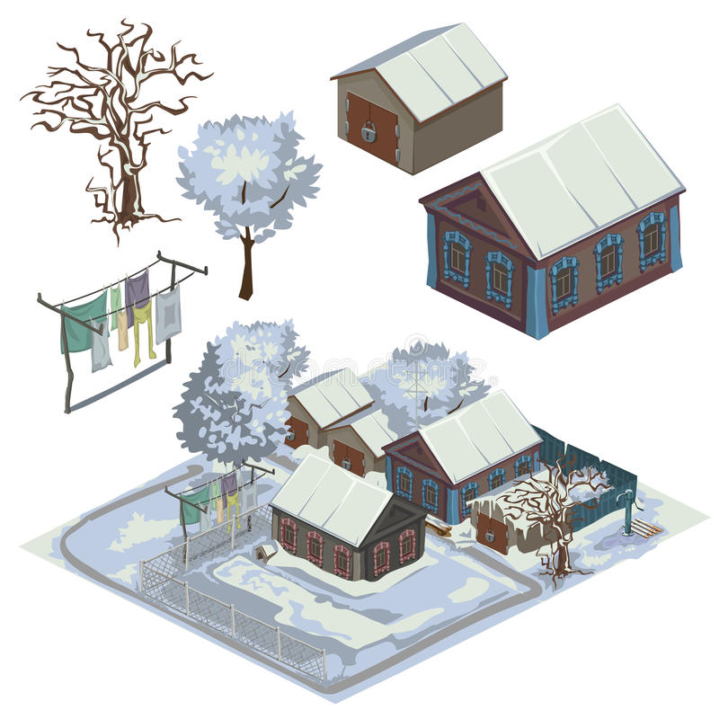 Free Winter Landscape With Several Snow-covered Houses Stock Photo - 75517580