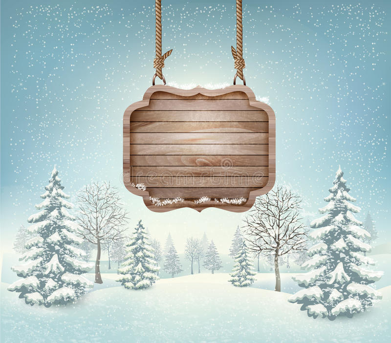 Winter landscape with a wooden ornate Merry christmas. Sign. Vector royalty free illustration