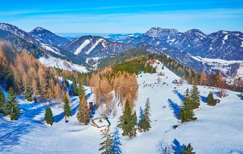 The winter landscape from Zwolferhorn cable car, St Gilgen, Salzkammergut, Austria royalty free stock image