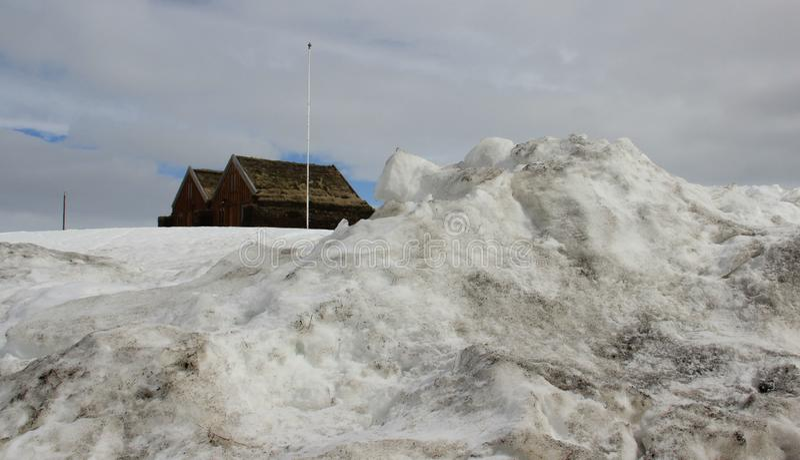Winter-Landschaften und lokale Hütte stockbilder