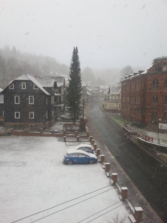 Winter in lauscha thà ¼ ringen lizenzfreies stockfoto