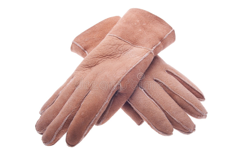 Winter leather gloves royalty free stock photo