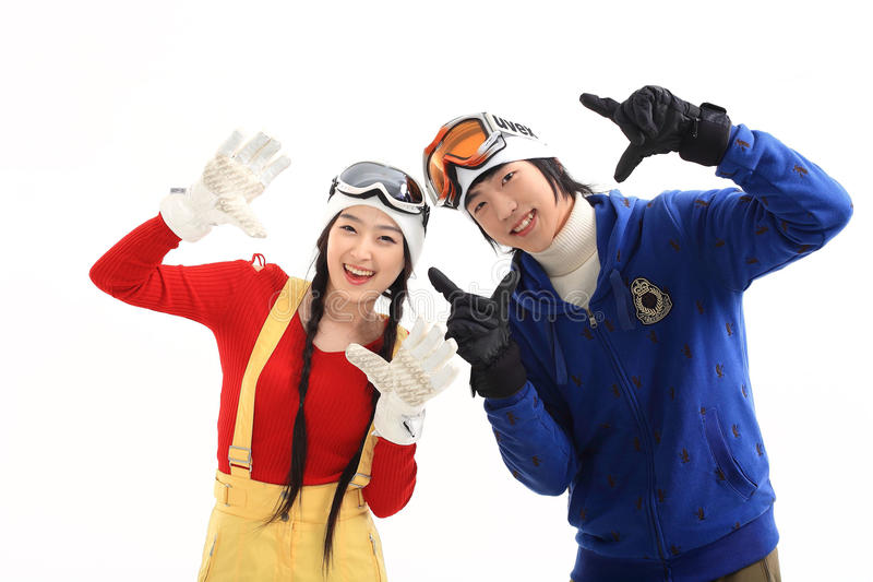 Winter Leiasure of Couple stock photos