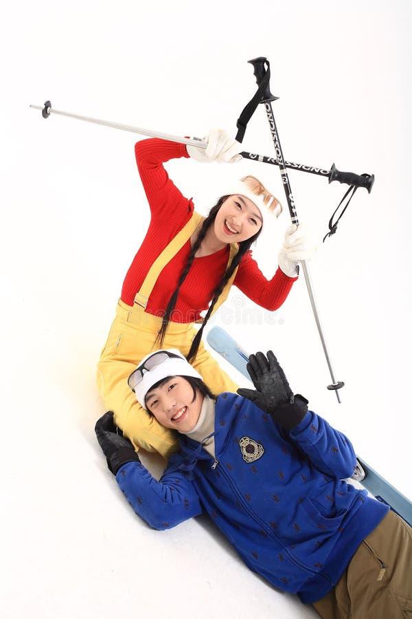 Winter Leiasure of Couple royalty free stock photo