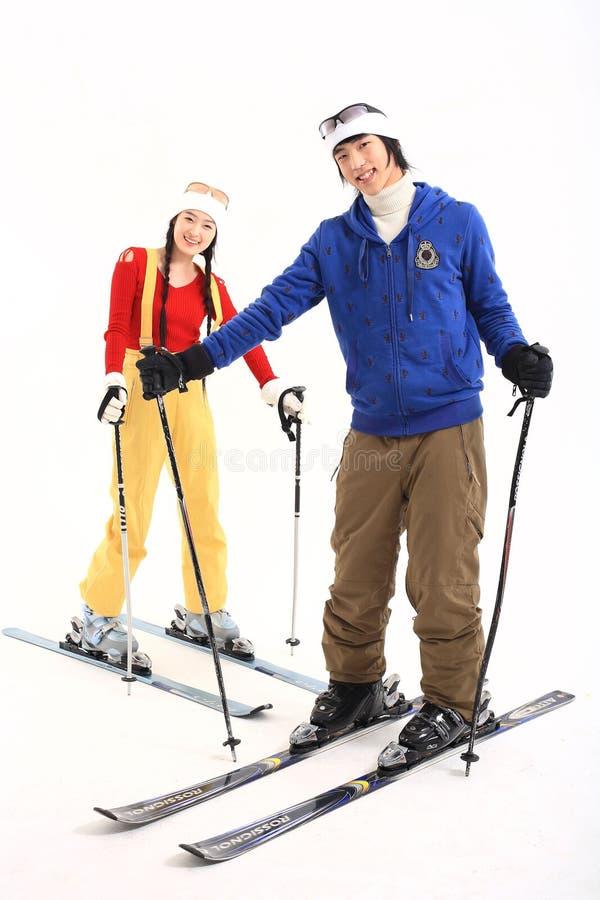 Winter Leiasure of Couple royalty free stock image