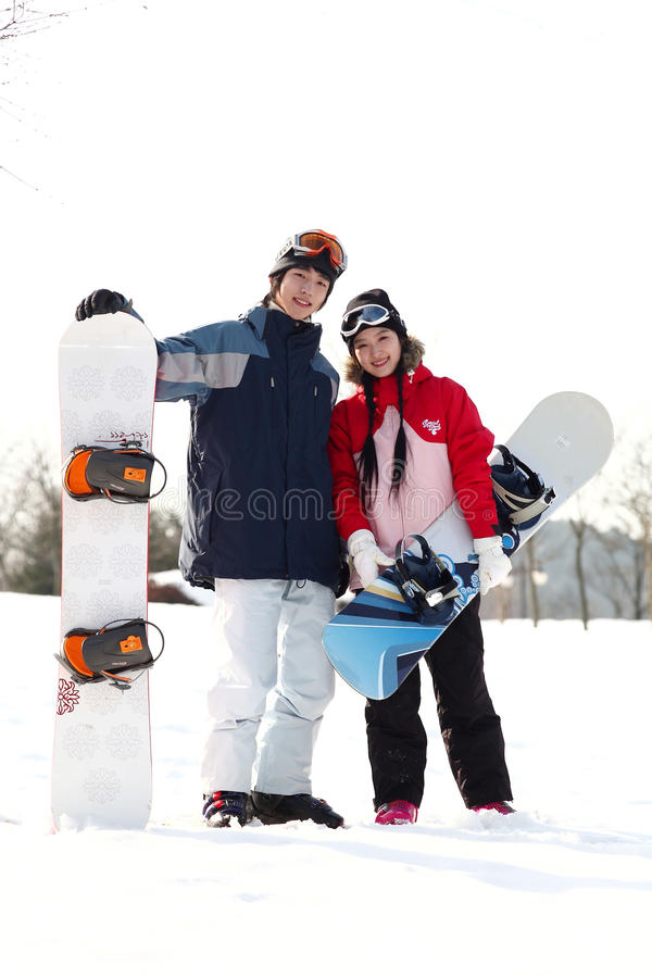 Winter Leiasure of Couple royalty free stock photography