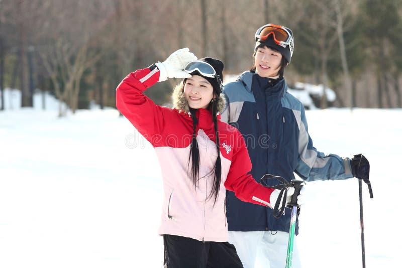 Winter Leiasure of Couple stock image