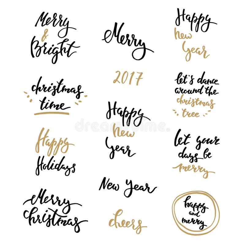 Winter lettering big set golden. Merry Christmas Lettering Design Set. Happy New Year, winter season greetings. Isolated modern calligraphy royalty free illustration