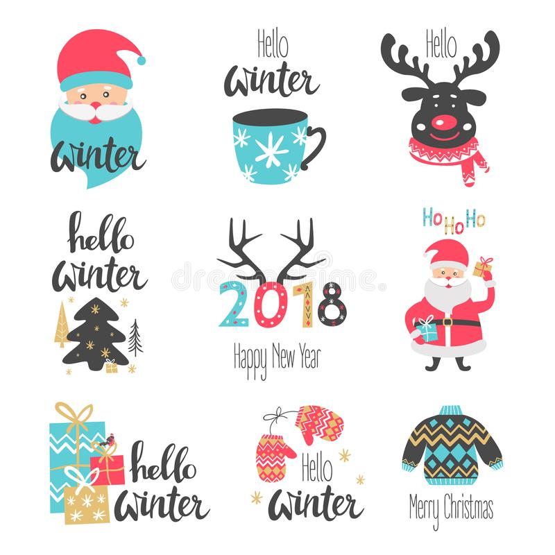 Winter lettering set with holiday elements. Santa Claus, deer. stock illustration