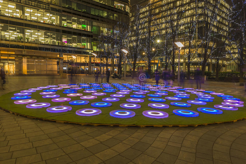 Winter Lights Festival at Canary Wharf. LONDON, UK - JANUARY 15, 2016: Winter Lights Festival at Canary Wharf, features installation by Jen Lewin - The Pool royalty free stock photography