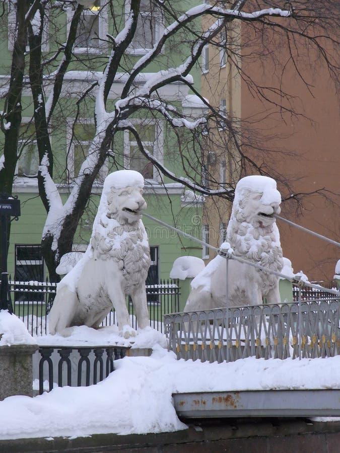 Winter lions in Saint-Petersburg stock photography