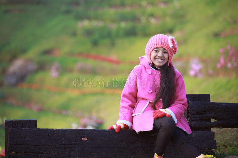 Winter. Little girl wearing clothes in winter day, Outdoor portrait stock photography