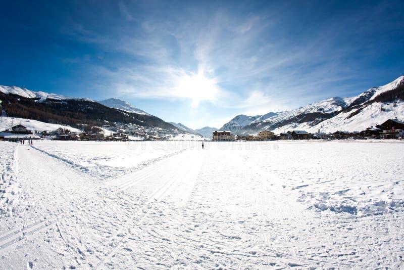 Winter in Livigno. Panorama of Livigno in winter royalty free stock image