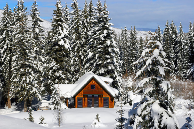 Winter Log Home royalty free stock photography