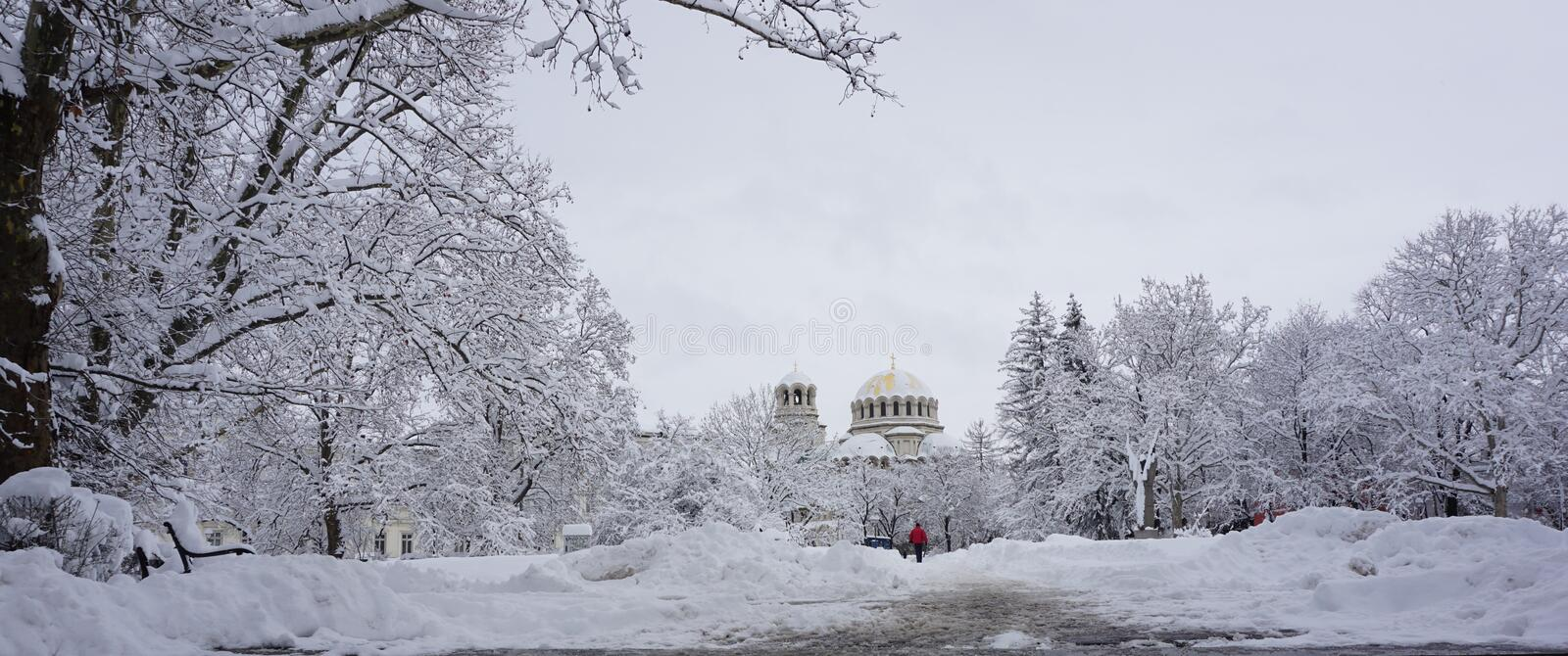 Winter look to St. Alexander Nevsky Cathedral, Sofia, Bulgaria stock photo