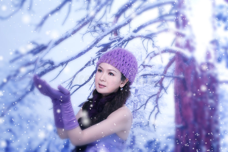 Download Winter Love stock photo. Image of asian, pose, girl, poses - 7423738