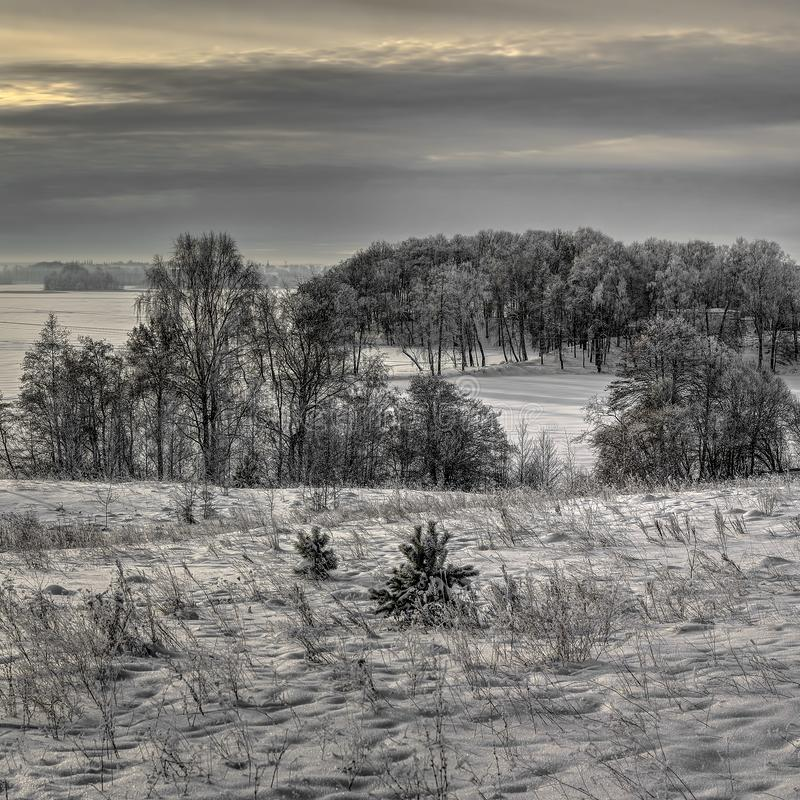 Winter of low color, cloudy midday royalty free stock images