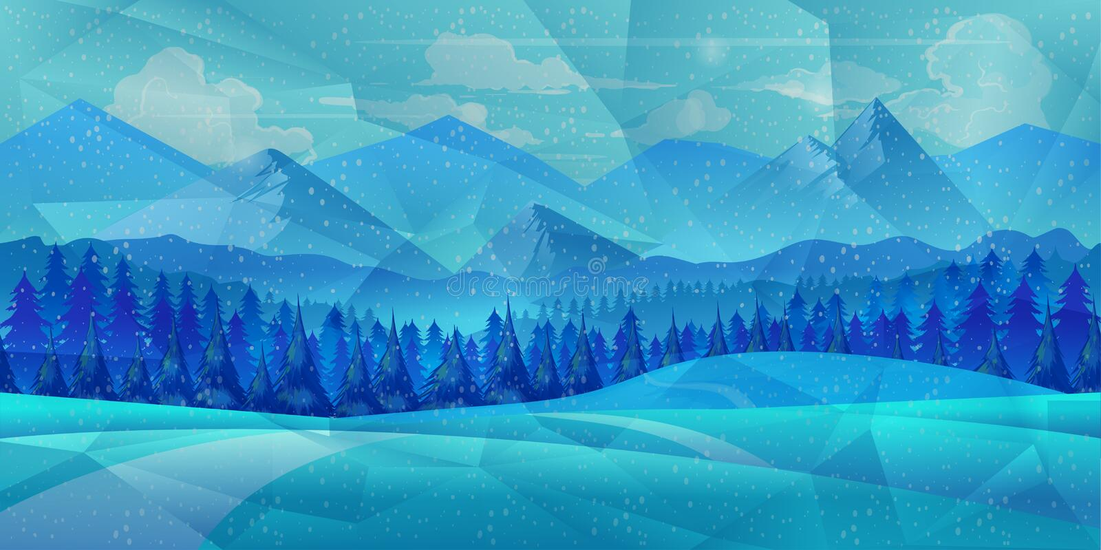 Winter low poly background with road and polygonal firs trees. Landscape season, frost outdoor snowfall. Vector illustration stock illustration