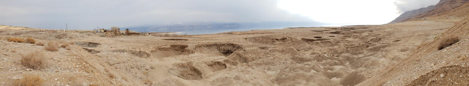 Winter at the lowest place in the world. The Dead sea, the lowest place in the world, -424m below se level , Ein Gedi, the border between israel and the Kingdom royalty free stock photo