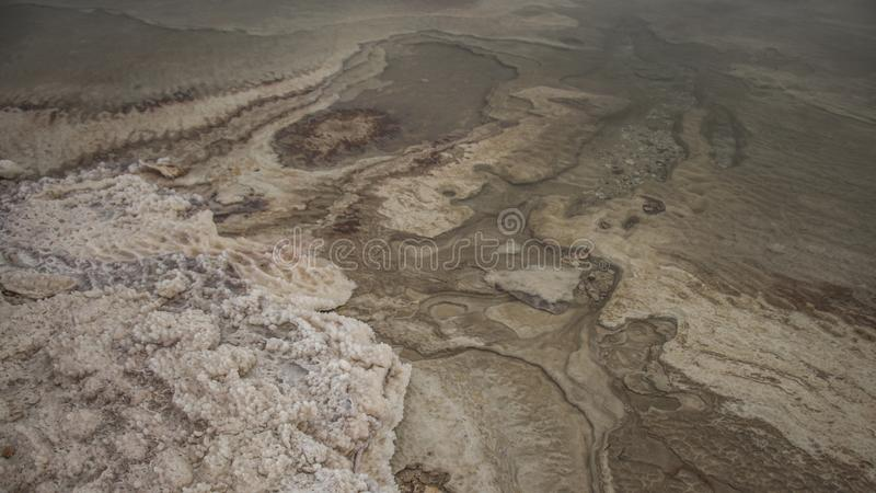 Winter at the lowest place in the world. The Dead sea, the lowest place in the world, -424m below se level , Ein Gedi, the border between israel and the Kingdom stock images