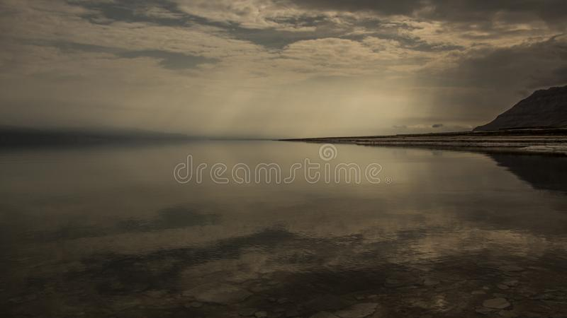 Winter at the lowest place in the world. The Dead sea, the lowest place in the world, -424m below se level , Ein Gedi, the border between israel and the Kingdom royalty free stock photos