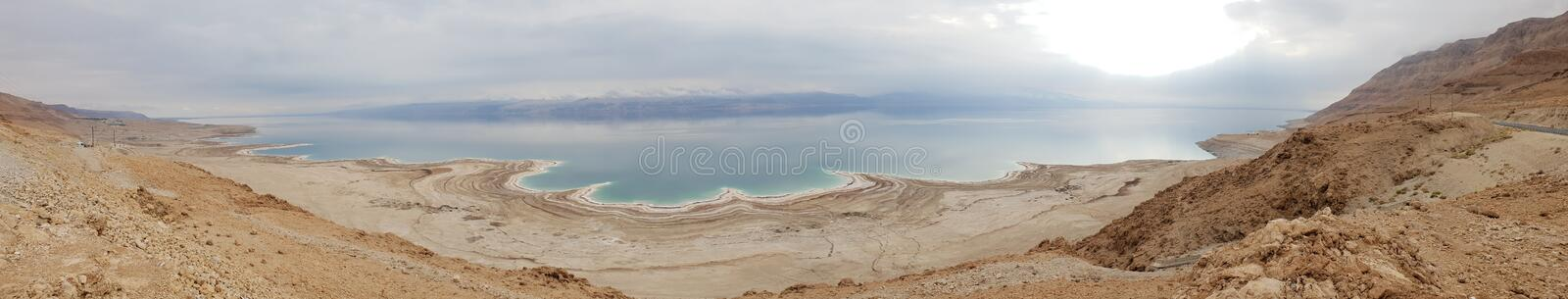 Winter at the lowest place in the world. The Dead sea, the lowest place in the world, -424m below se level , Ein Gedi, the border between israel and the Kingdom stock photo