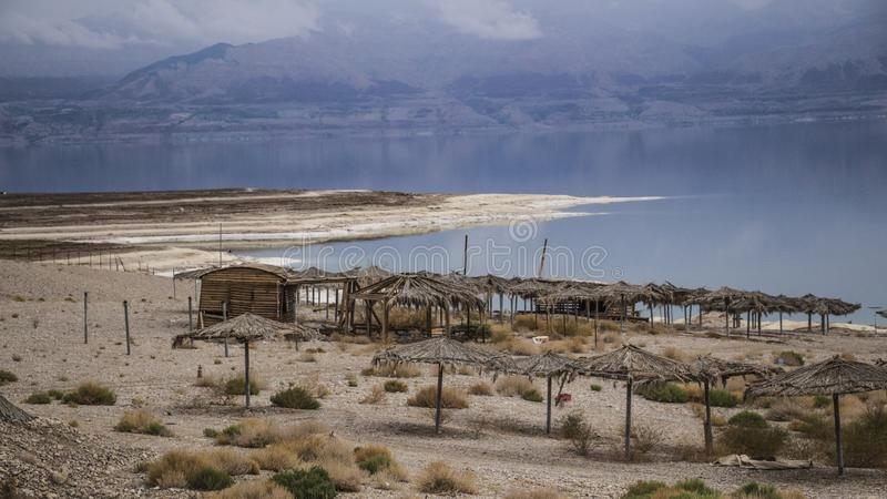 Winter at the lowest place in the world. The Dead sea, the lowest place in the world, -424m below se level , Ein Gedi, the border between israel and the Kingdom royalty free stock photography