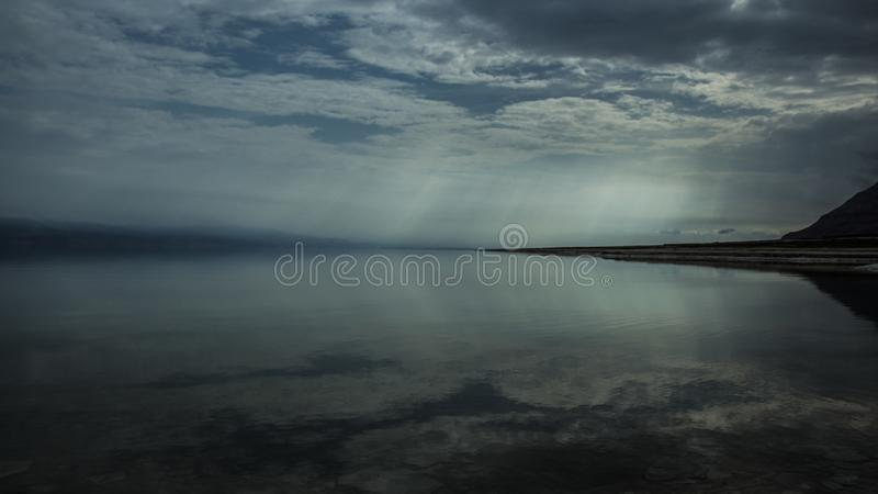 Winter at the lowest place in the world. The Dead sea, the lowest place in the world, -424m below se level , Ein Gedi, the border between israel and the Kingdom stock photography