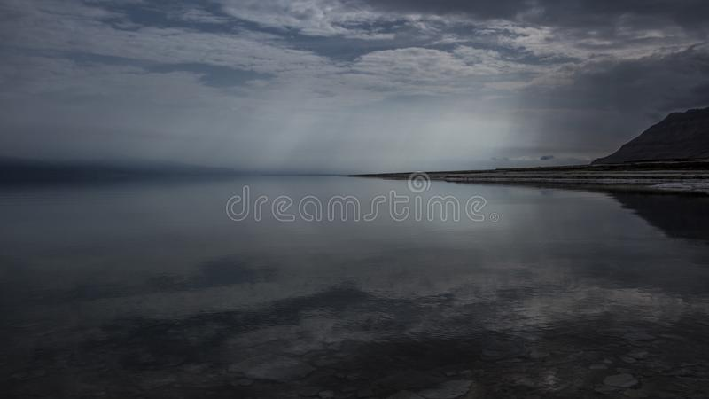 Winter at the lowest place in the world. The Dead sea, the lowest place in the world, -424m below se level , Ein Gedi, the border between israel and the Kingdom stock photos