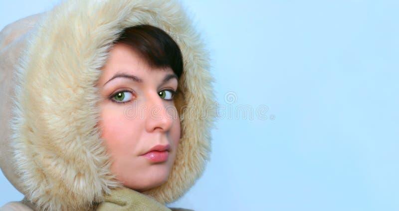 Download Winter-Mädchen stockbild. Bild von schönheit, grün, augen - 42353