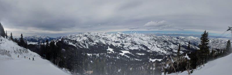 Winter majestic views around Wasatch Front Rocky Mountains, Brighton Ski Resort, close to Salt Lake and Heber Valley, Park City, U. Winter majestic views around royalty free stock photos
