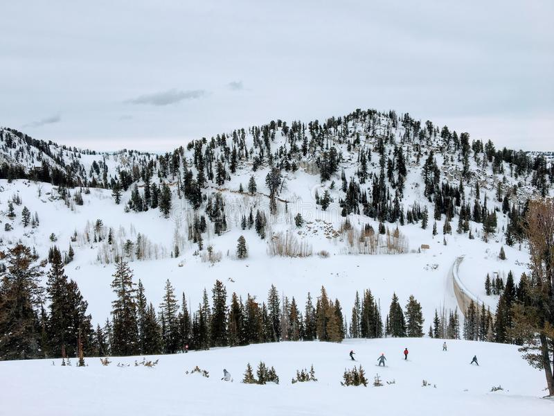 Winter majestic views around Wasatch Front Rocky Mountains, Brighton Ski Resort, close to Salt Lake and Heber Valley, Park City, U. Winter majestic views around royalty free stock photo