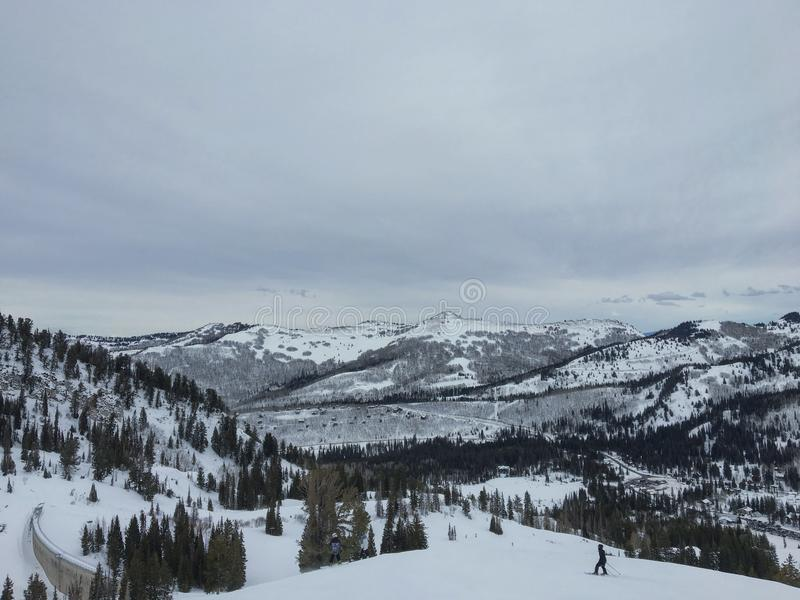Winter majestic views around Wasatch Front Rocky Mountains, Brighton Ski Resort, close to Salt Lake and Heber Valley, Park City, U. Winter majestic views around royalty free stock images