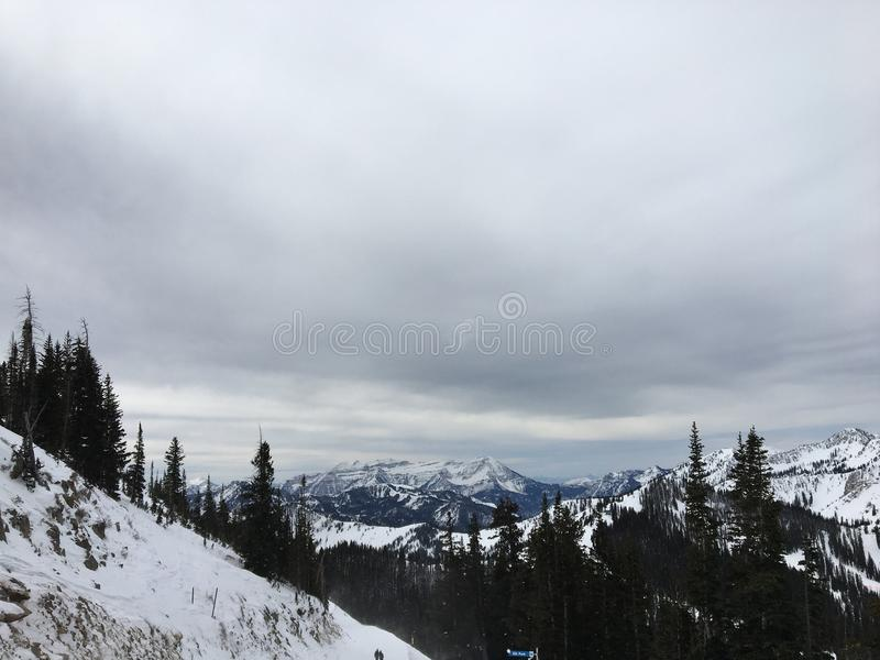 Winter majestic views around Wasatch Front Rocky Mountains, Brighton Ski Resort, close to Salt Lake and Heber Valley, Park City, U. Winter majestic views around royalty free stock photography
