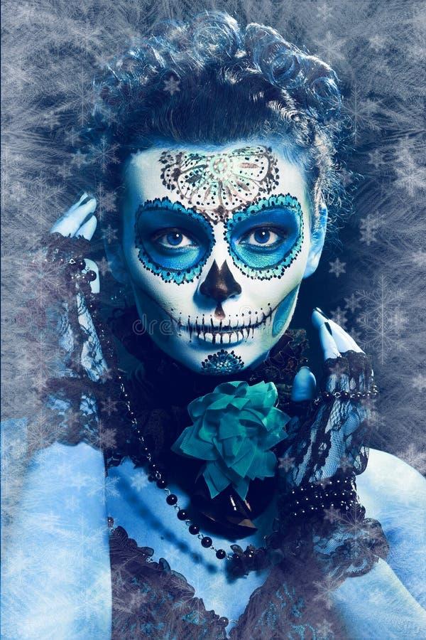 Winter make up sugar skull stock image. Image of frozen ...