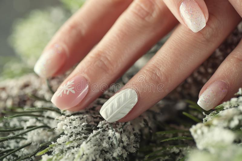 Winter Manicure Design Nails, Soft Pink And White Colour Stock Image ...