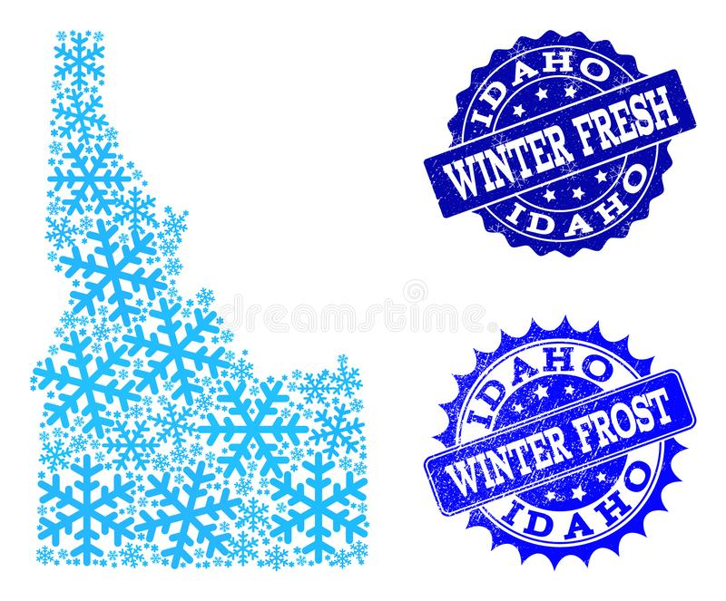 Winter Map of Idaho State and Winter Fresh and Frost Grunge Stamps. Snowflake map of Idaho State and grunge stamp seals in blue colors with Winter Fresh and stock illustration