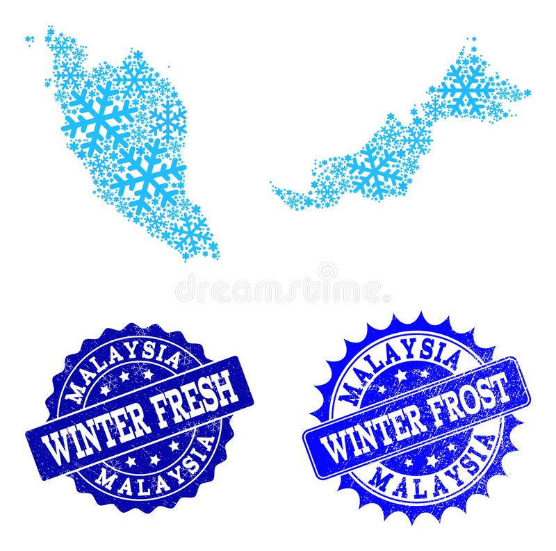Winter Map of Malaysia and Winter Fresh and Frost Grunge Stamps vector illustration